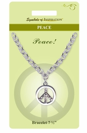 "<Br>           LEAD & NICKEL FREE!!<Br>   SYMBOLS OF INSPIRATION!!<Br>W15359B - AUSTRIAN CRYSTAL<Br> ""PEACE"" SIGN BRACELET WITH<Br>      GIFT CARD AND ENVELOPE<Br>                AS LOW AS $6.47"