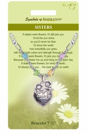 "<Br>           LEAD & NICKEL FREE!!<Br>    SYMBOLS OF INSPIRATION!!<Br> W15360B - ""SISTERS"" FLORAL<Br>HEART & MULTI COLOR BEADED<Br>BRACELET WITH GIFT CARD AND<Br>     ENVELOPE AS LOW AS $6.97"
