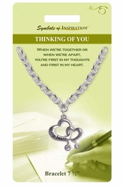 "<Br>                 LEAD & NICKEL FREE!!<Br>          SYMBOLS OF INSPIRATION!!<Br>     W15364B - ""THINKING OF YOU""<Br>DOUBLE HEART BRACELET WITH GIFT<Br>CARD & ENVELOPE AS LOW AS $6.47"