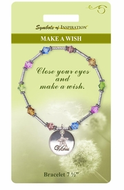 "<Br>             LEAD & NICKEL FREE!!<Br>     SYMBOLS OF INSPIRATION!!<Br>      W15366B - ""MAKE A WISH""<Br>MULTI COLOR BEADED BRACELET<Br> WITH GIFT CARD AND ENVELOPE<Br>                 AS LOW AS $9.47"
