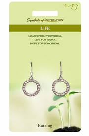 "<Br>            LEAD & NICKEL FREE!!<Br>     SYMBOLS OF INSPIRATION!!<Br>  W15411E - AUSTRIAN CRYSTAL<Br>""LIFE"" RINGLET DROP EARRINGS<Br>WITH GIFT CARD AND ENVELOPE<BR>                 AS LOW AS $5.47"