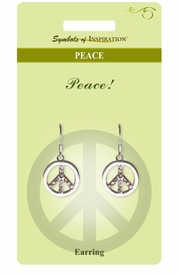 "<Br>          LEAD & NICKEL FREE!!<Br>   SYMBOLS OF INSPIRATION!!<Br>W15414E - AUSTRIAN CRYSTAL<Br>""PEACE"" SIGN EARRINGS WITH<Br>     GIFT CARD AND ENVELOPE<BR>               AS LOW AS $5.47"