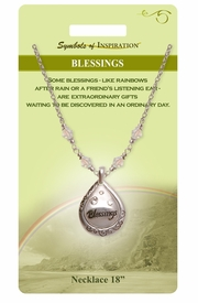 "<Br>                LEAD & NICKEL FREE!!<Br>        SYMBOLS OF INSPIRATION!!<Br> W15439N - ""BLESSINGS"" FILIGREE<Br>    TEARDROP NECKLACE WITH GIFT<BR>CARD & ENVELOPE AS LOW AS $9.47"