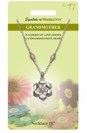 "<Br>                    LEAD & NICKEL FREE!!<Br>             SYMBOLS OF INSPIRATION!!<Br>      W15449N - SILVER TONE FLOWER<BR>ACCENTED WITH PEARLS AND AUSTRIAN<BR> CRYSTAL ""GRANDMOTHER"" NECKLACE<Br>         WITH GIFT CARD AND ENVELOPE<bR>                         AS LOW AS $8.47"