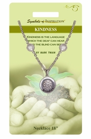 "<Br>               LEAD & NICKEL FREE!!<Br>        SYMBOLS OF INSPIRATION!!<Br>W15452N - ""KINDNESS"" AUSTRIAN<br>          CRYSTAL AND SILVER TONE<Br>         NECKLACE WITH GIFT CARD<Br>   AND ENVELOPE AS LOW AS $7.97"