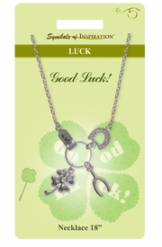 "<Br>              LEAD & NICKEL FREE!!<Br>       SYMBOLS OF INSPIRATION!!<Br>W15458N - ""GOOD LUCK"" CHARM<Br>        NECKLACE WITH GIFT CARD<Br> AND ENVELOPE AS LOW AS $7.97"