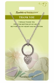 "<Br>               LEAD & NICKEL FREE!!<Br>        SYMBOLS OF INSPIRATION!!<Br>      W15467N - ""THANK YOU""<BR>        AUSTRIAN CRYSTAL HEART<BR>          NECKLACE WITH GIFT CARD<Br>   AND ENVELOPE AS LOW AS $7.97"