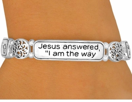 """<bR>                LEAD & NICKEL FREE!!<bR>  W10046B - POLISHED SILVER TONE<br>     """"JESUS ANSWERED.."""" RELIGIOUS<br>            STRETCH BRACELET FROM<Br>                       $5.06 TO $11.25<BR>                               �2008"""