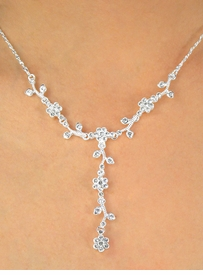 """<BR>                  LEAD & NICKEL FREE<Br>W10252NE - POLISHED SILVER TONE<br> AUSTRIAN CRYSTAL """"FLOWER VINE""""<br>    NECKLACE & EARRING SET FROM<Br>                       $9.75 TO $18.00"""