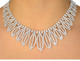"""<BR>                     LEAD & NICKEL FREE!!<bR>    W10339NE - POLISHED SILVER FINISH<br>   AUSTRIAN CRYSTAL """"CASCADING LEAF""""<Br>             NECKLACE & EARRINGS FROM<Br>                         $45.50 TO $84.00"""