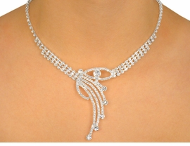 """<BR>                       LEAD & NICKEL FREE!!<bR> W10401NE - GENUINE AUSTRIAN CRYSTAL<br> """"SHOOTING STAR"""" NECKLACE & EARRING<Br>               SET FROM $34.94 TO $64.50"""