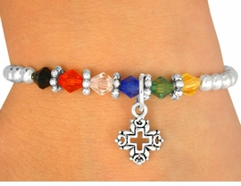 "<Br>                      LEAD & NICKEL FREE!!<Br>    W10418B - CHILDREN'S SILVER TONE<br>  CROSS & ""SALVATION"" COLORED BEAD<Br>STRETCH BRACELET FROM $2.25 TO $5.00"
