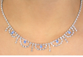 <BR>                   LEAD & NICKEL FREE!!<bR>  W10766NE - SAPPHIRE BLUE & CLEAR<br>AUSTRIAN CRYSTAL WAVES & STRANDS<Br>              NECKLACE & EARRING SET<Br>                 FROM $17.90 TO $33.00