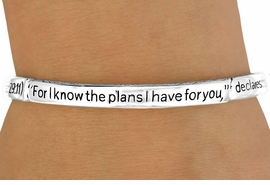 "<BR>                     LEAD & NICKEL FREE!!<Br>W10773B - RELIGIOUS ""JEREMIAH 29:11""<BR>   STRETCH BRACELET AS LOW AS $2.75"