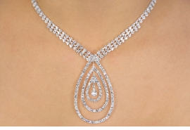 <BR>                        LEAD & NICKEL FREE!!<bR> W10790NE - GENUINE AUSTRIAN CRYSTAL<br>  MULTI OVAL DROP NECKLACE & EARRING<br>                 SET FROM $52.00 TO $96.0