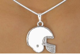 <Br>                 LEAD & NICKEL FREE!!<Br>W10921N - STERLING SILVER PLATED<Br>WHITE FOOTBALL HELMET NECKLACE<Br>                      AS LOW AS $2.55