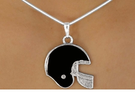 <bR>                 LEAD & NICKEL FREE!!<Br>W10922N - STERLING SILVER PLATED<Br>BLACK FOOTBALL HELMET NECKLACE<Br>                      AS LOW AS $2.55