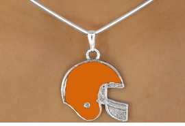 <BR>                   LEAD & NICKEL FREE!!<Br>  W10924N - STERLING SILVER PLATED<Br>ORANGE FOOTBALL HELMET NECKLACE<Br>                        AS LOW AS $2.55
