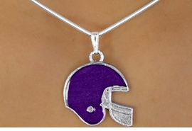 <BR>                   LEAD & NICKEL FREE!!<Br> W10925N - STERLING SILVER PLATED<BR>PURPLE FOOTBALL HELMET NECKLACE<Br>                        AS LOW AS $2.55