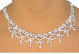 <BR>                      LEAD & NICKEL FREE!!<Br>   W11623NE - GENUINE AUSTRIAN CRYSTAL<br>       LEAD & NICKEL FREE DOUBLE DRAPING<br>NECKLACE & EARRING SET FROM $20.31 TO $37.50