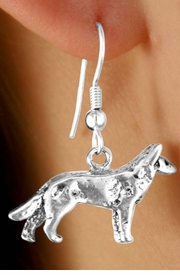<Br>        LEAD & NICKEL FREE!!<Br>W12001E - STERLING SILVER<Br>     PLATED WOLF EARRINGS<br>             FROM $3.25 TO $8.00