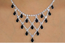 <Br>            LEAD & NICKEL FREE!!<BR>W12231NE - GENUINE JET BLACK<br>     & WHITE AUSTRIAN CRYSTAL<br>        NECKLACE & EARRING SET<Br>          FROM $34.13 TO $63.00