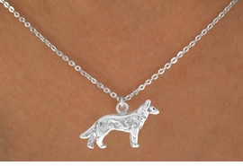 "<Br>        LEAD & NICKEL FREE!!<BR>W12274N - STERLING SILVER<Br>   PLATED ""WOLF NECKLACE<Br>            AS LOW AS $3.25"