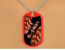 "<Br>              LEAD & NICKEL FREE!!<Br>     W12502N - RED ""GOT GAME?""<Br>DOG TAG & BALL CHAIN NECKLACE<Br>                  AS LOW AS $3.45"