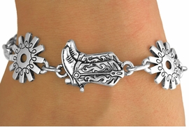 <Br>       LEAD & NICKEL FREE!!<Br>W12611B - BOOTS & SPURS<Br>BRACELET AS LOW AS $5.40