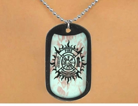 "<Br>             LEAD & NICKEL FREE!!<Br>W12622N - ""FIRE DEPARTMENT""<Br> BLACK  DOG TAG & BALL CHAIN<Br>     NECKLACE AS LOW AS $3.45"