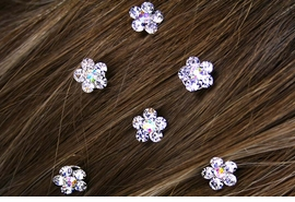 <Br>                  LEAD & NICKEL FREE!!<Br> W12658HJ - SIX-GENUINE AUSTRIAN<Br>      CRYSTAL FLOWER HAIR ACCENTS<Br>                  FROM $5.90 TO 12.50