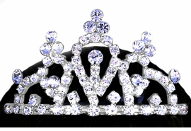 "<Br>           LEAD & NICKEL FREE!!<Br>  W12687T - GENUINE AUSTRIAN<BR>     CRYSTAL ""PRINCESS"" TIARA <Br>HAIR COMB FROM $4.50 TO $10.00"