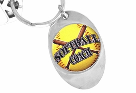 "<Br>             LEAD & NICKEL FREE!!<Br>W12922KC - ""SOFTBALL  COACH""<Br>      KEY CHAIN AS LOW AS $1.99"