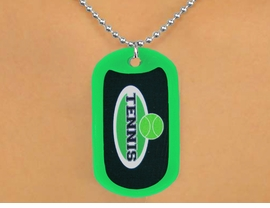 "<Br>           LEAD & NICKEL FREE!!<Br>  W12965N - ""TENNIS"" & BALL<Br>GREEN  DOG TAG & BALL CHAIN<Br>    NECKLACE AS LOW AS $3.45"