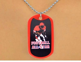 "<Br>             LEAD & NICKEL FREE!!<Br>W12981N - ""FOOTBALL ALL-STAR""<Br>      RED DOG TAG & BALL CHAIN<Br>      NECKLACE AS LOW AS $3.45"