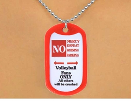 "<Br>                  LEAD & NICKEL FREE!!<Br>W13028N - ""NO MERCY, NO DEFEAT...""<Br>     DOG TAG & BALL CHAIN NECKLACE<Br>                       AS LOW AS $3.45"
