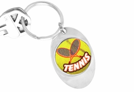 "<Br>       LEAD & NICKEL FREE!!<Br>W13053KC - ""TENNIS"" OVAL<Br>KEY CHAIN AS LOW AS $1.99"