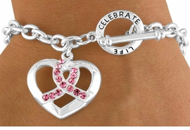 "<Br>         LEAD & NICKEL FREE!!<Br>W13135B - ""CELEBRATE LIFE""<Br> PINK AWARENESS RIBBON &<br>    HEART TOGGLE BRACELET<Br>         FROM $4.70 TO $9.25"