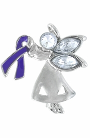 "<bR>                      LEAD & NICKEL FREE!!<br>W13220P - CHARMING ""ANGEL BY MY SIDE""<BR>          SILVER TONE PURPLE AWARENESS<BR>RIBBON ANGEL PIN©2005 AS LOW AS $2.15<br>     EXCLUSIVELY OURS! WE ARE THE ONLY<Br>              MANUFACTURER OF THIS PIN!<BR>"