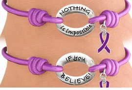 "<Br>                LEAD & NICKEL FREE!!<Br>   W13230B - PURPLE ""NOTHING IS<Br>       IMPOSSIBLE IF YOU BELIEVE!""<bR>DOUBLE-SIDED PURPLE  AWARENESS<Br>         RIBBON STRETCH BRACELET<bR>                FROM $2.81 TO $6.25"