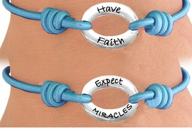 "<Br>                 LEAD & NICKEL FREE!!<Br>     W13231B - ""HAVE FAITH, EXPECT<br> MIRACLES"" DOUBLE-SIDED STRETCH<Br>      BRACELET FROM $2.81 TO $6.25"