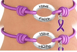 "<Br>                LEAD & NICKEL FREE!!<Br>   W13237B - PURPLE ""HAVE FAITH,<Br>HAVE HOPE"" DOUBLE-SIDED PURPLE<Br>       AWARENESS RIBBON STRETCH<Br>     BRACELET FROM $2.81 TO $6.25"