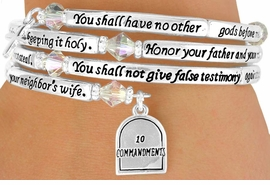 "<Br>               LEAD & NICKEL FREE!!<Br>W13239B - ""TEN COMMANDMENTS""<br>          RELIGIOUS COIL BRACELET<bR>                                  $22.85"