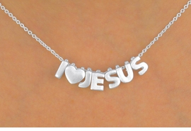 "<Br>              LEAD & NICKEL FREE!!<Br>W13309N - ""I LOVE JESUS"" SILVER<Br>   TONE BLOCK LETTER NECKLACE<Br>                FROM $3.95 TO $10.00"