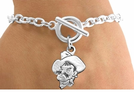 "<Br>             LEAD & NICKEL FREE!!<bR>W13327B - LICENSED OKLAHOMA<Br>  STATE UNIVERSITY ""COWBOYS""<Br>      BRACELET AS LOW AS $3.65"