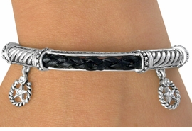 "<BR>             LEAD & NICKEL FREE!!<Br>W13393B - BLACK & SILVER TONE<br>    AUSTRIAN CRYSTAL ""STAR"" &<Br>      ROPE HORSESHOE STRETCH<br>      BRACELET AS LOW AS $4.90"