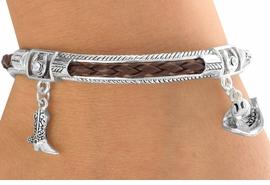 <BR>        LEAD & NICKEL FREE!!<Br>W13394B - BROWN & SILVER<br>   WESTERN THEME STRETCH<br>  BRACELET AS LOW AS $5.90