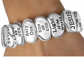 """<Br>              LEAD & NICKEL FREE!!<Br>W13514B - """"THE NAMES OF JESUS""""<Br>  POLISHED SILVER TONE STRETCH<Br>  BRACELET FROM $6.95 TO $17.50"""