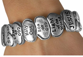 """<Br>              LEAD & NICKEL FREE!!<Br>W13516B - """"THE NAMES OF JESUS""""<Br>  ANTIQUE SILVER FINISH STRETCH<Br>  BRACELET FROM $6.95 TO $17.50"""