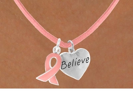 "<Br>                 LEAD & NICKEL FREE!!<Br>W13523N - PINK AWARENESS RIBBON<Br>        & ""BELIEVE"" HEART ON A PINK<Br> SUEDE NECKLACE FROM $5.25 TO $8.65"